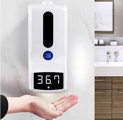 Termómetro infrarrojo con dispensador 1L ejemplo de uso